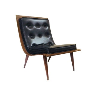 Mid Century Modern Bent Wood Upholstered Scoop Lounge Chair For Sale