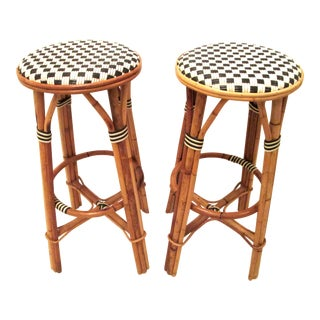 French Bistro Backless Counter Stools - a Pair For Sale