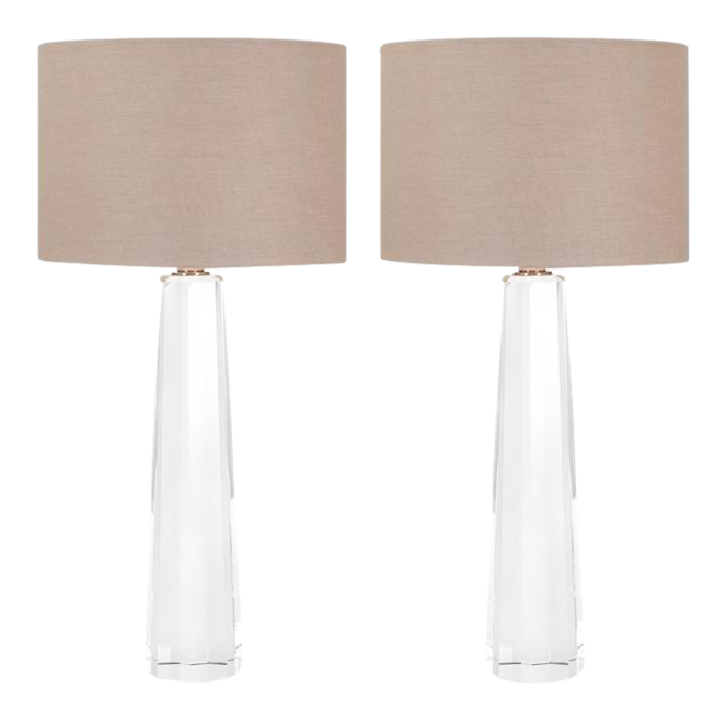 Beau Restoration Hardware Style Faceted Crystal Column Table Lamps   A Pair