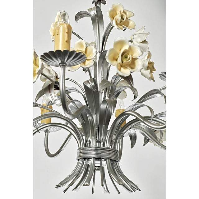 Mid Century Modern Italian Tole Floral Eight Light Chandelier For Sale - Image 9 of 13