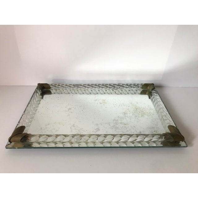 Antique Brass and Italian Murano Glass Rope Tray For Sale - Image 4 of 7