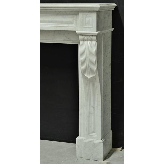 Small White Marble Louis XVI Fireplace, 19th Century For Sale - Image 4 of 9