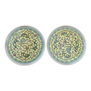 Chinese Famille Jaune Platters- Pair For Sale