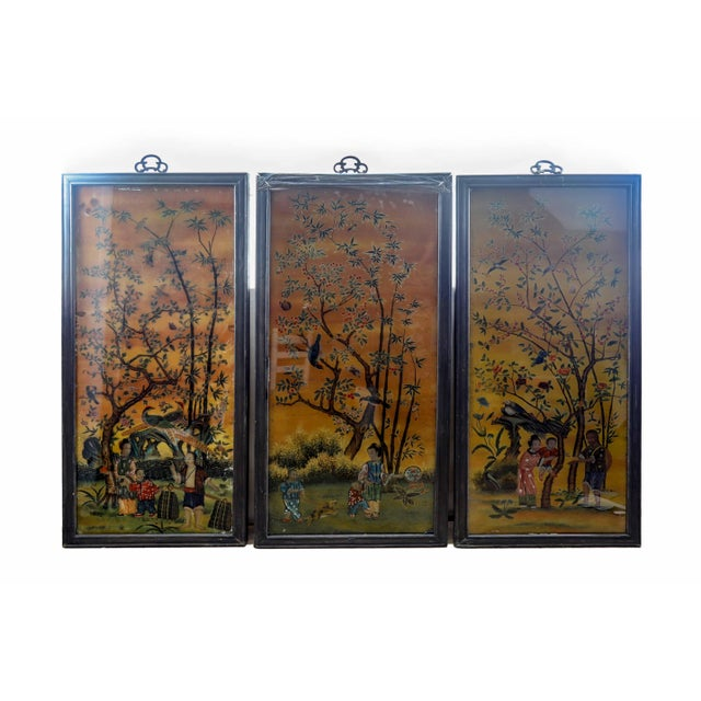 Figurative Vintage Chinese Scroll Reverse Painting Panel in Original Frame For Sale - Image 3 of 4
