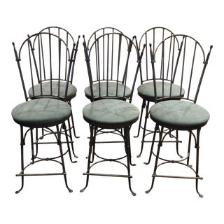 Charleston Forge Handwrought Iron Swivel Counter Stools - Set of 6 For Sale