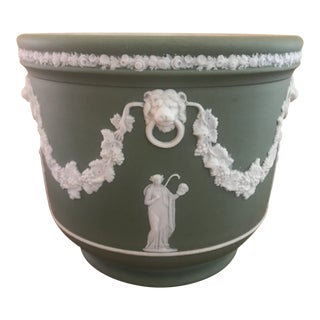 1896 Wedgwood Sage Green Jardiniere For Sale