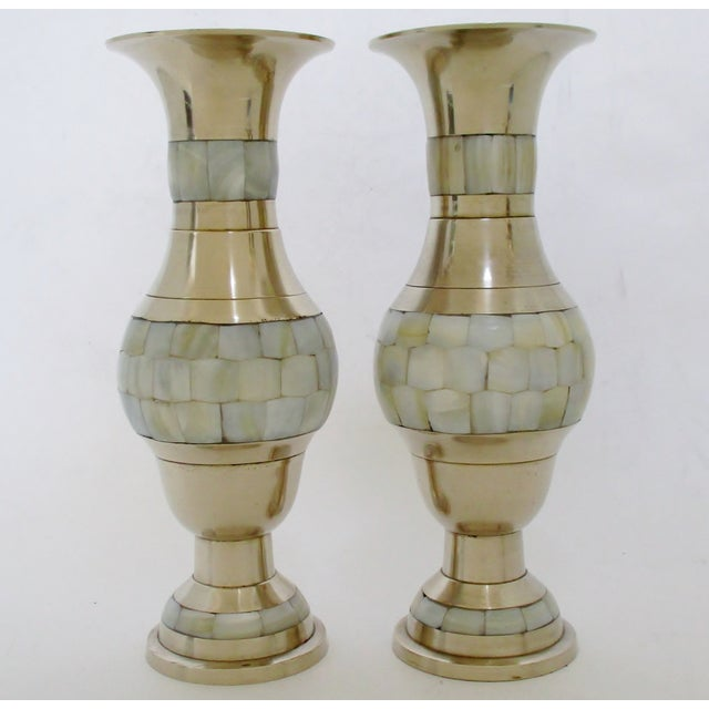 Brass Mother Of Pearl Vases A Pair Chairish