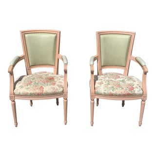 1910s Vintage French Louis XVI Accent Chairs or Bergere - a Pair For Sale