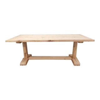 Salvaged Reclaimed Pine Timber Wood Trestle Dining Table For Sale