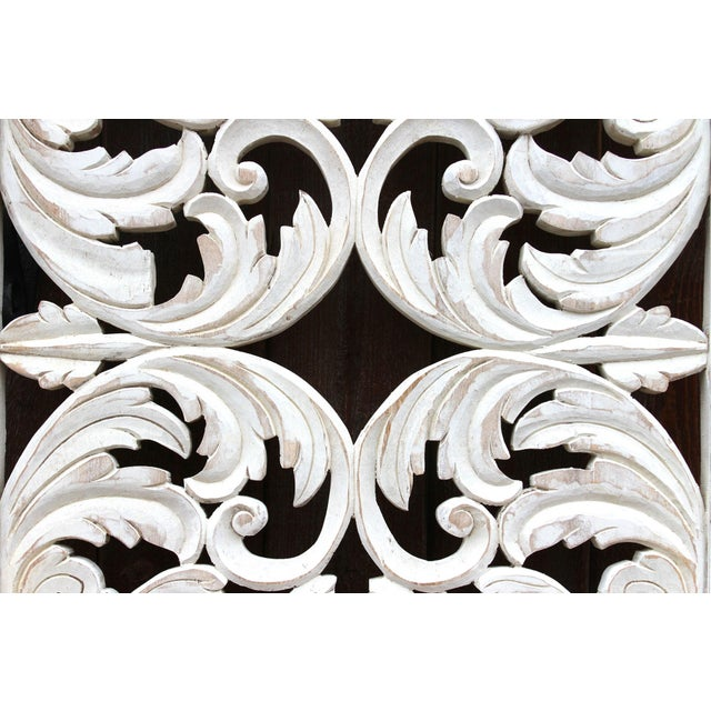 2010s Acanthus Whitewashed Wooden Carved Panel For Sale - Image 5 of 11