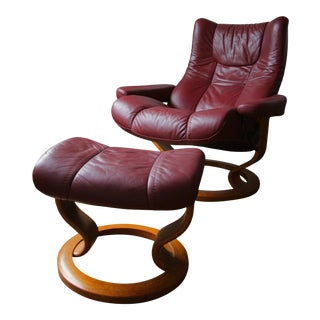 Stressless Wing Leather Chair & Ottoman For Sale