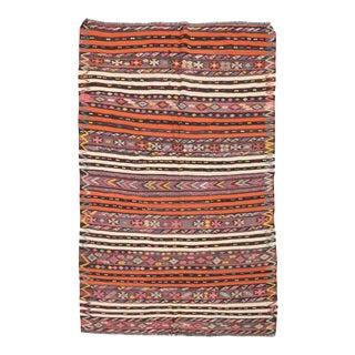 Embroidered Vintage Turkish Kilim Rug For Sale