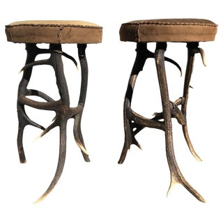 Pair of Antler Legs Round Stools, Americana For Sale