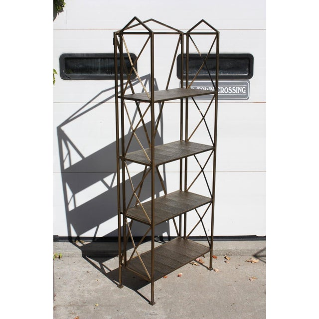 1990s Italian Wireframe Triptych Etagere Shelf - Image 2 of 10