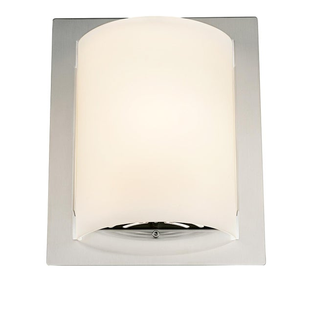 Mid-Century Modern Featured Brushed Nickel and Glass Wall Light For Sale - Image 3 of 3
