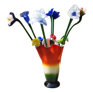 Vintage Italy Murano Fazzoletto Glass Vase & Flowers