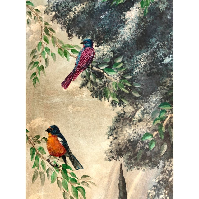 Neoclassical Italian Birds in the Forest Watercolor Painted Panels - Set of 2 For Sale - Image 3 of 13