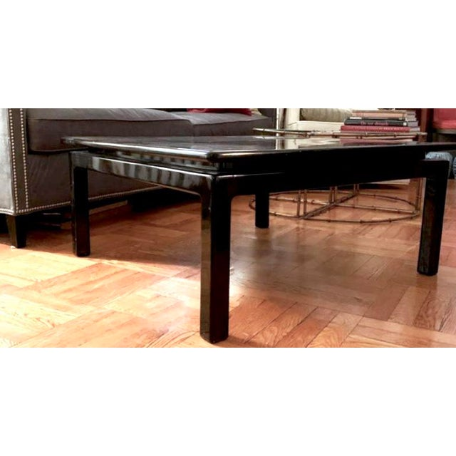 Mid 20th Century Mid Century Italian Black Lacquered Float Top Coffee Table For Sale - Image 5 of 10