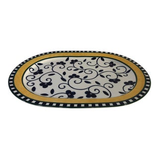 Traditional Spanish Style 1990s Vintage Spal of Portugal Firenze Tray Blue White Yellow Serving Piece For Sale
