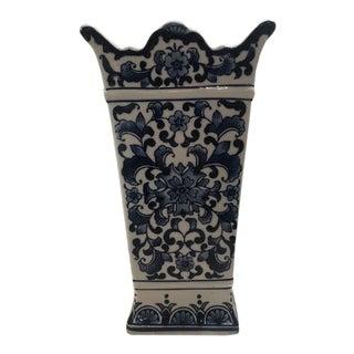 Vintage Blue & White Floral Vase For Sale