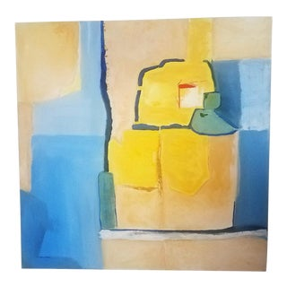 "Modern Abstract Oil Painting by Christine Frisbee, ""West Side Roof Tops"" For Sale"