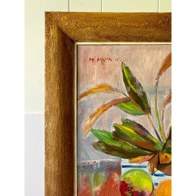 Wood Midcentury Botanical Still Life Painting For Sale - Image 7 of 12