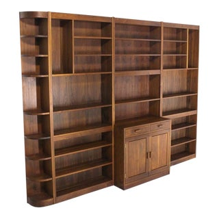 Mid-Century Modern Solid Walnut Shelving Wall Unit Bookcase For Sale
