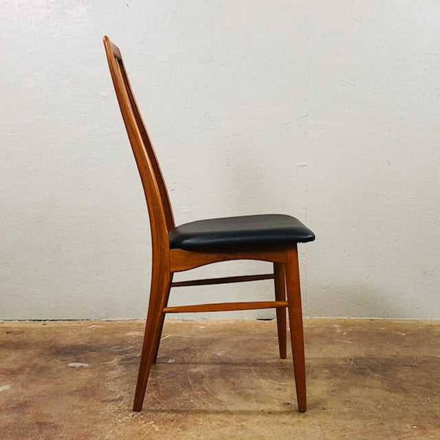 Danish Modern 1960s Niels Koefoed Teak and Black Leather Dining Chairs - Set of 4 For Sale - Image 3 of 10
