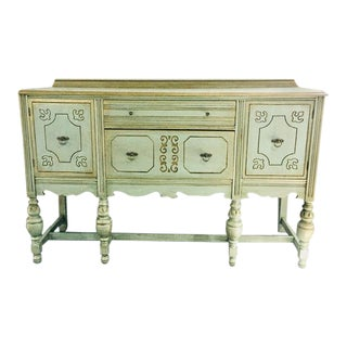 Antique Mint Green Scrolled Buffet For Sale