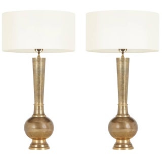 Pair of Etched Brass Table Lamps in the Style of Persian Khatam, Circa 1950s For Sale
