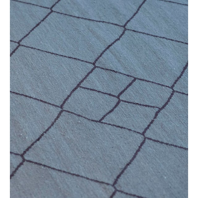 2010s Contemporary Blue Handwoven Wool Moroccan Inspired Flatweave Rug For Sale - Image 5 of 10