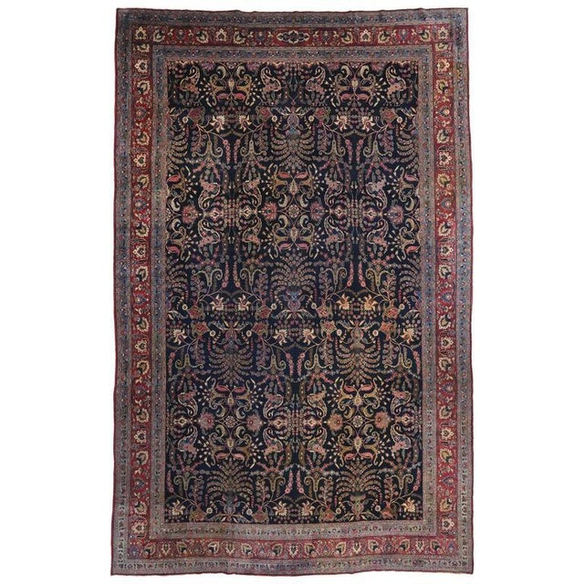 Antique Persian Mashhad Rug with Traditional Modern Style For Sale - Image 9 of 9