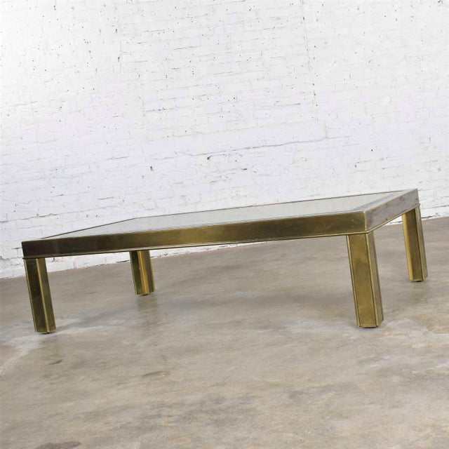 Large Modern Brass & Glass Parsons Style Coffee or Cocktail Table Style Mastercraft For Sale - Image 6 of 13