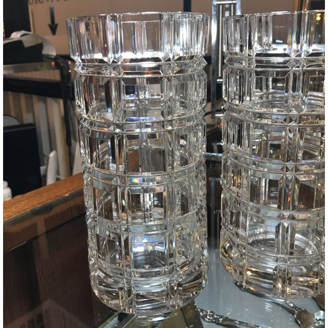 Mid-Century Modern 1950s Mid-Century Modern Cut Crystal Cylinder Vases - a Pair For Sale - Image 3 of 11