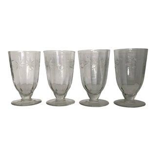 """Vintage Etched Floral Goblets (4) 4.75""""t For Sale"""