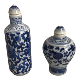 Chinese Blue & White Porcelain Painted Floral Bottles - A Pair For Sale