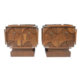Pair of Sculptural Nightstand From 70's. For Sale