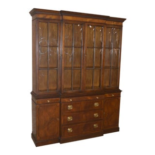 1950s Traditional Two Piece Inlaid Mahogany China Cabinet