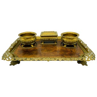 19th Century French Bronze and Burl Wood Desk Set For Sale
