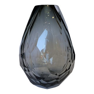 21st Century Murano Diamond Faceted Smoke Gray Crystal Vase by Mandruzzato For Sale