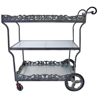 Brown Jordan Neoclassical Style Aluminum Bar Cart Trolley For Sale