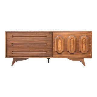 Mid Century Walnut & Burlwood Sideboard For Sale