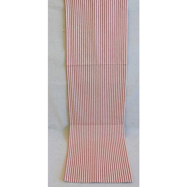 "French Country Red & Ivory Ticking Table Runner 109"" Long For Sale - Image 4 of 7"