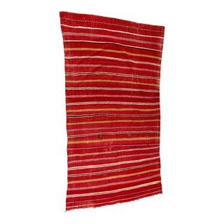 Moroccan Vintage Flat-Weave Ethnic Textile Rug For Sale