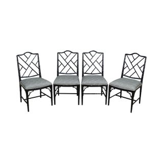 Chinese Chippendale Style Custom Black Painted Side Chairs - Set of 4