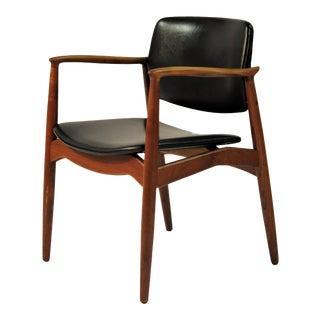 Mid Century Erik Buch Captains Armchair in Teak and Leather, Orum Mobelfabrik For Sale