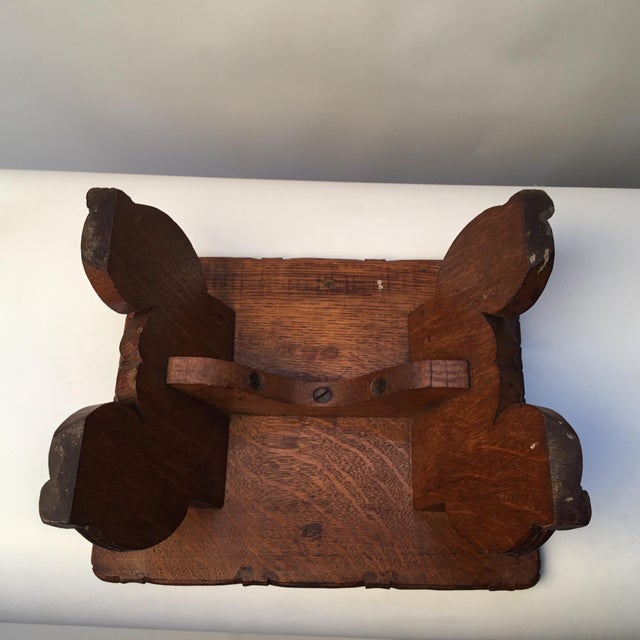 Wood 1900s Antique English Hand Carved Footstool For Sale - Image 7 of 12