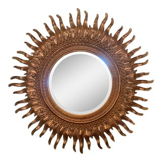 Vintage Gilded Starburst Mirror For Sale