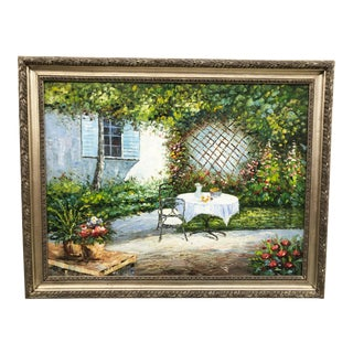 1970s French Landscape Framed Original Oil on Canvas Framed Painting For Sale