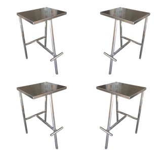 1990s Custom Post Modern Stainless Steel Bar Stools - Set of 4 For Sale